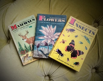 Vintage A Golden Nature Guide Books Set of 3 Flowers Insects and Mammals Illustrated American Species Wildflowers Bugs Animals 1950's 1960's