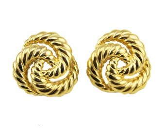 Alfred Sung Gold Earrings, Alfred Sung Chunky Gold Earrings, Chunky Gold Stud Earrings, Gold Circle Earrings