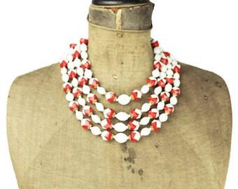 West Germany White Multi Strand Necklace,  Chunky Red and White Bead Necklace, Red and White Necklace