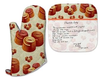 Recipe Pot Holder & Oven Mitt Set - Recipe Handwritten on Pot Holder - Custom Handwriting - Remembrance Gift - Handwritten Recipe