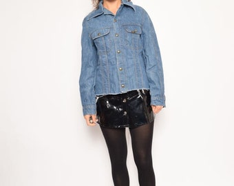 Vintage 80's Lee Denim Cropped Shirt / Lee Blue Denim Snap Shirt