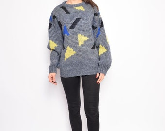 Vintage 80's Puma Grey Sweater / Geometric Chunky Sweater