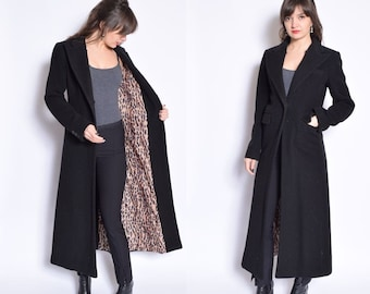 Vintage 90's Black Wool Button Maxi Coat / One Button Wool Coat / Black Wool Maxi Coat - Size Small/S