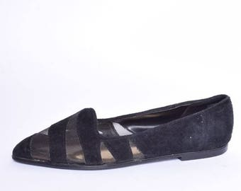 Vintage 80's Black Suede Leather And Mesh Flats / Black Suede Leather Shoes / Black Mesh Shoes