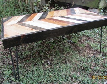 Hairpin Leg Table, Wood and steel table, Rustic Coffee Table, Coffee Table, Handmade wood table, Lath Table, Wood Art, Rustic furniture,