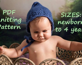 PDF KNITTING PATTERN baby bonnet pattern, knit pixie hat pattern, newborn bonnet pattern, baby bonnet pattern, photography prop, winter hat