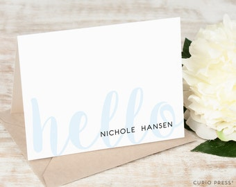 Personalized Stationary Set / Folded Script Hello Personalized Stationery Note Cards / Casual Cute Cards // FAINT HELLO