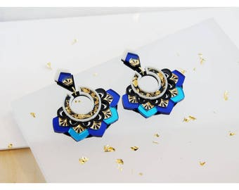 Zigzag Statement Earrings: Blue & Gold. Laser Cut Stud Drop Earrings. Mirror Frost Acrylic Perspex. Art Deco Geometric Scalloped Hoops