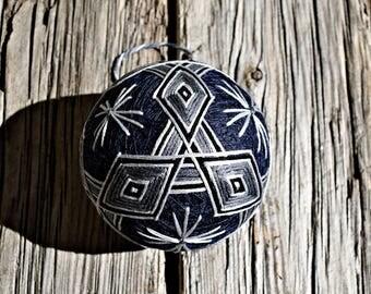 Grey and Navy Temari Ball, Japanese Neutrals Temari Ball, Japanese Folk Art, Mitsubishi Temari Ball Ornament, Christmas Temari Ball Ornament