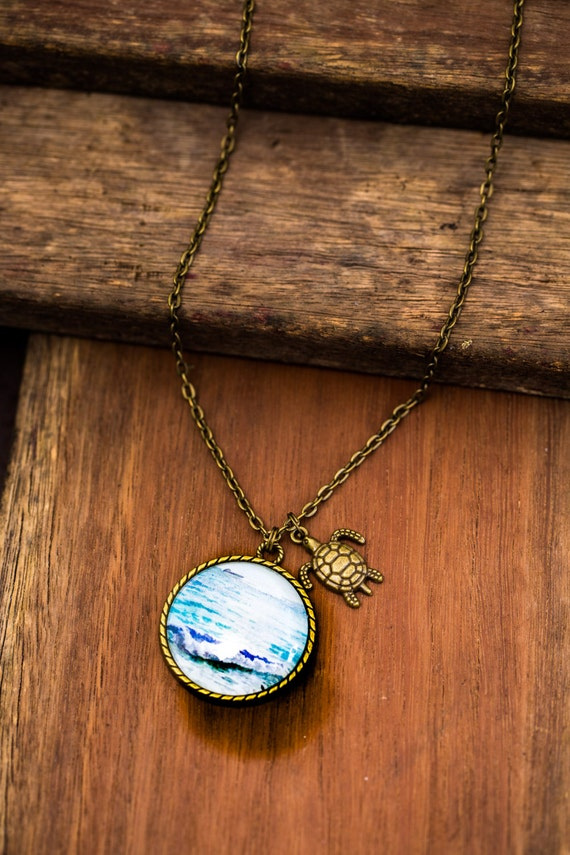 FREE SHIPPING - **NEW** Ocean Life 30mm Bronze Lace Necklace - Unique - Vintage - Gorgeous Gift - Love