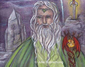 Original art, watercolor, colored pencils, Merlin, mythology, fantasy, Arthurian, painting, purple,silver, fantasy art, arthurian legend