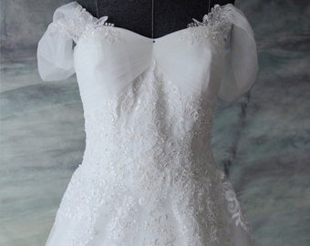 Custom Off Shoulder A-Line French Lace Wedding Dress Gown with Royal Length Train - YS198750075