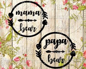 Mama Bear SVG,Papa Bear SVG,svg Cut File,svg Files,SVG,Silhouette Cameo Files,svg File for Cricut,Silhouette Cut File,Vinyl svg,Wall Decals