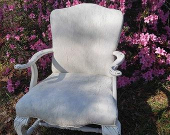 Queen Anne Upholstered chair, Shabby Chic,White chair,Cherry wood chair,Fabric painted,Accent,Annie Sloan chalk paint,18th Century style