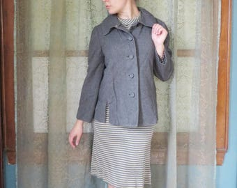 ON SALE 1950s Gray Wool Jacket Boxy Jacket 50s Wool Blazer Mad Men Audrey Hepburn Split Hem 50s Wool Coat Preppy Wool Jacket Chelsea Collar