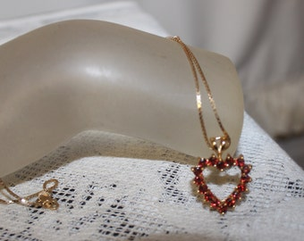 14 Kt Gold Heart Necklace, Ruby Red Crystal Heart Necklace, Valentine's Gift, Romantic Gift, Gift for Her