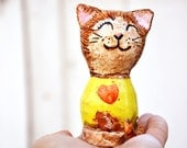 Happy Cat Molly, farmhouse smiling cat figurine mixed media yellow with a red heart, lovely kitten for cat lovers, Easter unique gift