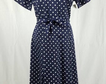 Dark Blue 1950s Polka Dotted Shirtdress