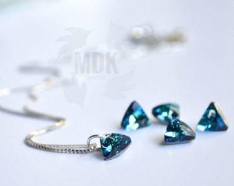 GENUINE  Swarovski Crystal Geometric Necklace March Birthstone. Aquamarine. Sterling Silver. Minimalist **FREE SHIPPING**