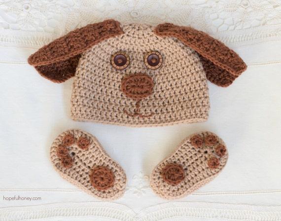 CROCHET PATTERN - Cuddly Puppy Baby Hat & Booties