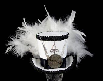 Black and White Steampunk Medium Mini Top Hat Fascinator, Alice in Wonderland, Made Hatter Tea Party, Derby Hat