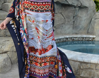 Designer Print Caftan, Womens Kaftans, Plus Size Caftan, Beach Coverup, Beach Dress, Long Caftan
