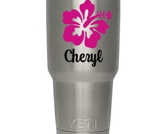 Custom vinyl decal, hibiscus flower with your name