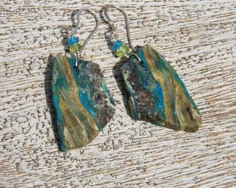 BLUE OPAL nugget EARRINGS, neon apatite, peridot, S.S.  Natural gemstone/ organic/slab/contrast/blue/Boho/earthy/ luck/therapeutic/ healing
