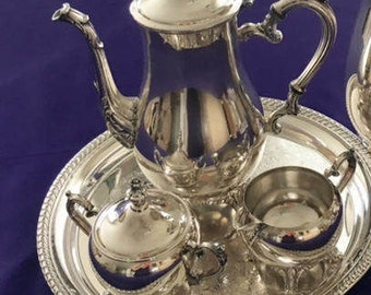 """Vintage 4 Pieces Silver Plated """" Wm. ROGERS""""  Tea Or Coffee SERVING SET. Circa 1880's"""