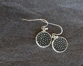 Black stingray leather earrings, dangle earrings, gift for her, Mother's Day, Valentine' s, girlfriend gift, best friend, sister gift