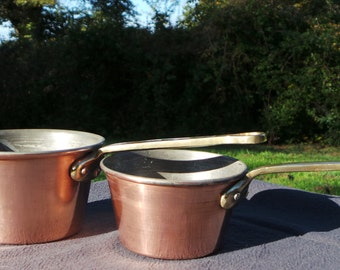 Pair Copper Saucepans Copper Pot Used Condition Special Quality Vintage Copper Pans Tin LIned Rolled Top Well Used