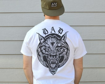 Mens Bad Wolf T shirt, Front And Back Wolf Print Tee, In Sizes S, M, L And XL