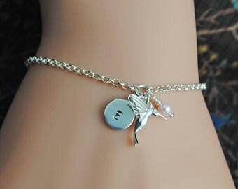 Silver Hummingbird Bracelet, Hummingbird Jewelry, Personalized Bracelet, Sterling Silver Bracelet, Bird Bracelet, Initial Bracelet WB112