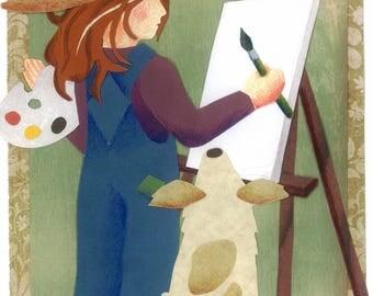 Painting Girl - Original Cut Paper Art