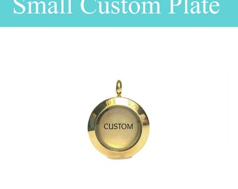 Personalized Plate for Glass Memory Locket Pendant, Small Gold Floating Charm Memory Necklace Plate, Stamped with Your Name, Word or Date