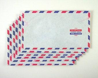 6 Airmail Envelopes, Red and Blue Border, Via Air Mail, Correo Aereo, Par Avion, Stars, Security Envelopes, Water Damage