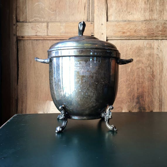 """Vintage Trophy Ice Bucket, Silver Plate Championship Trophy, N.S.C. """"300"""" Champion 1968, Bar Top Decor"""