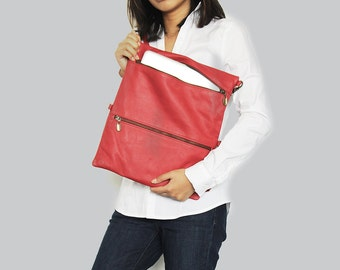 Sale 20% Red leather laptop sleeve with zipper , Red leather laptop bag, Laptop sleeve 13 , Laptop case , Macbook pro 13