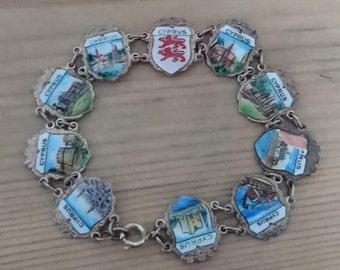 Vintage Cyprus enamel shield bracelet