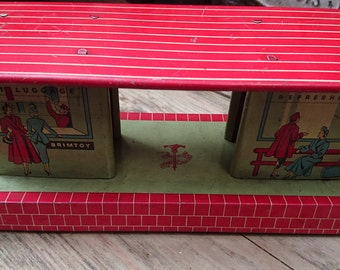 Vintage Brimtoy tin train station