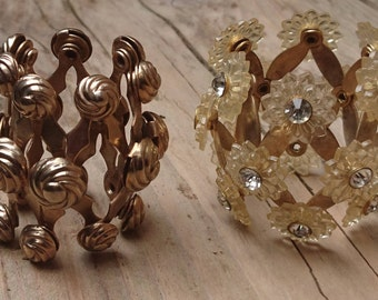 Two vintage expandable scarf rings