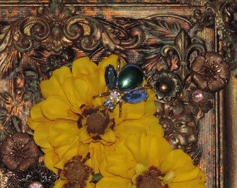 "Original Assemblage Art Collage Wall Plaque ""A Little Blue Bee"" Mixed Media Golden Yellow Flowers Patina Metal"