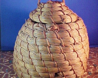 Antique NC Bee Skep, Basket, Coiled Pine Needle, Bee Hive