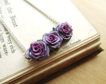 Rose Trio Bouquet Necklace/Choker - Polymer Clay - Handmade