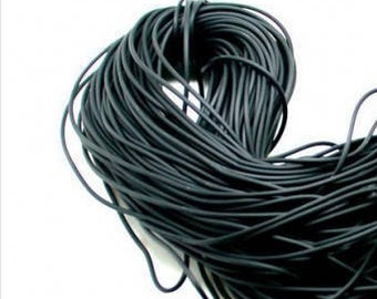 """60"""" 1.8mm Rubber Black with Hole,  Rubber cord, memory wire center hole, faux leather,"""