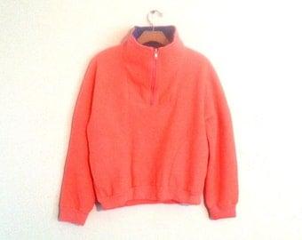 Vintage 90s Fleece Neon Pullover Jacket  Women's Small