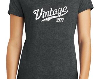 Womens tri-blend 40th birthday t-shirt, 1977, born in 1977, 40th birthday gift for her, birthday shirt, shirt for mom, 40th birthday gift