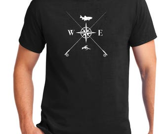 Fly Fishing Compass  ,Fly Fishing Shirt  , Trout , Fisherman, Compass Shirt,fly fishing art,fishing shirt,Fishing,Flyfishing Gift. Fly Rod,