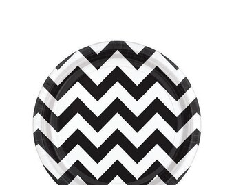 12 x Chevron plates, disposable plates, party plates, paper plates, zig zag plate, chevron pattern, pink party, black and white, party decor