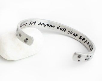 Graduation Gift, Never Let Anyone Dull Your Sparkle, Inspirational Cuff Bracelet, Gift Girls, Back to School, Graduation, Kids Jewelry